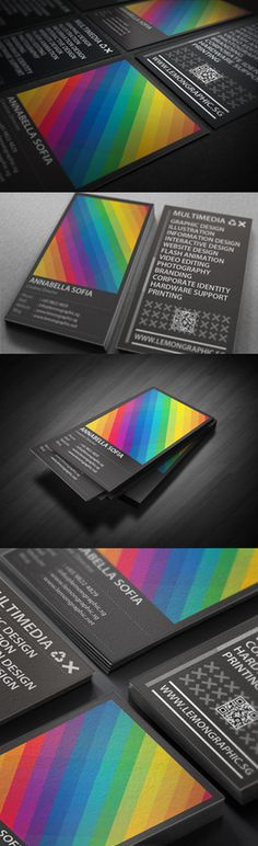 Rainbow Typography business card design #business #card #design #graphic #black #colors #rainbow #typography
