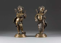 FRENCH image sculptor Active 2. Half of the 19th century. Century Two musical Putti