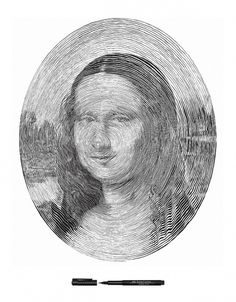 Mona Lisa drawn with a single line by Chan Hwee Chong #mona #contemporary #illustration #art #painting #museums #lisa