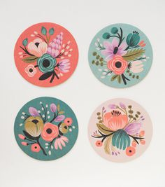 Botanical Coaster Set #flower #blue #orange
