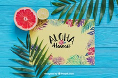 Aloha composition Free Psd. See more inspiration related to Flower, Mockup, Floral, Party, Summer, Paper, Beach, Sun, Leaves, Fruits, Tropical, Holiday, Mock up, Lemon, Palm, Decorative, Vacation, Wooden, Summer beach, Summer party, Aloha, Up, Beach party, Tropical flowers, Season, Hawaiian, Palm leaves, Grapefruit, Painted, Composition, Mock, Exotic, Summertime and Seasonal on Freepik.