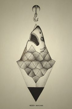 Shark outside of geometry. #hook #geometry #stone #ba #shark #ck #dots #triangle #sea