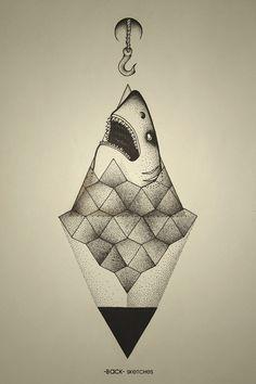 Shark outside of geometry. #geometry #sea #stone #triangle #hook #dots #shark #ba ck
