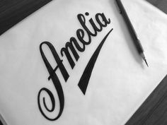 Amelia dribbble bw #lettering #hand #typography