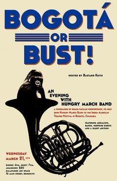 Marysia Makowska #band #march #gorilla #brass #poster #bogota #hungry #concert #brooklyn #typography
