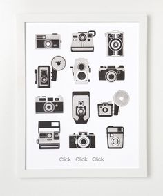 Sycamore Street Press — Letterpress Camera Art Print. Click Click Click. #camera #black #letterpress #white