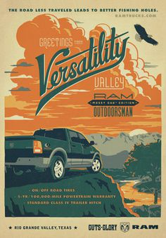 Ram Trucks: Versatility | Ads of the World™ #truck #countryside #retro #typography