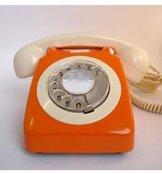 orange vintage phone #telephone #orange #retro