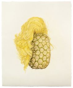 """Selfie (Pineapple Hair)"" colored pencil on paper, 19.5"" x 16"", 2013"