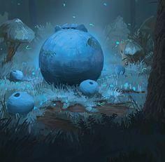 The Blueberry King on Behance #fantasy #firefly #woods #fruit #blueberry #illustration #nature #glow #art #moonlight #blue #forest #trees