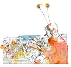 Pedro Covo - colagene.com #ink #justice #orange #paint #splatter #oil