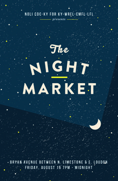 NightMarket_August #poster #event #publicity #night market #kentucky #astrology #moon #design