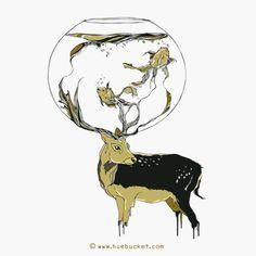 HUEBUCKET #deer #fish #bowl #water