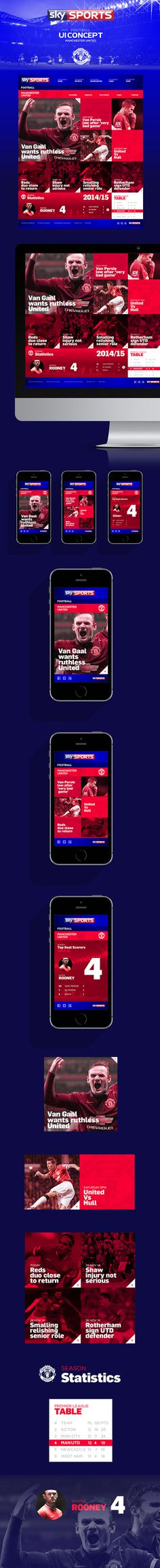 Sky Sports Football // UI Design Concept on Behance #red #ux #responsive #clean #website #grid #ui #mobile #sports #football #layout #web