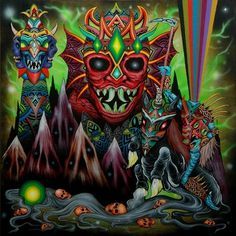 In cold black mountains... - Society6 #acrylic #demonic #paint #illustration #colorful