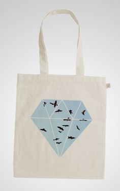 Sofia Ling – Grafisk Design #graphic design #birds #diamond #tote #totebag