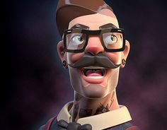Hipster Portrait #illustrations #mustache #tattoo #art #cartoon