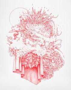 Artist Lucas Lasnier PARBO #bizarre #red #drawing #churning #illustration #liquid #morphing #evolution #pencil