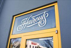 Facebook Haircut Salon - Erik Marinovich #lettering #facebook #erik marinovich #friends of type #fot #transom