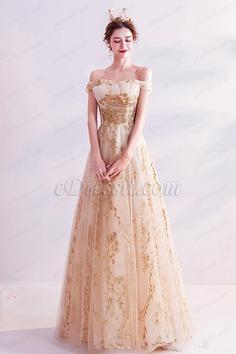 eDressit Gold Classic Off Shoulder A-line Evening Dress Prom Gown (36224424)