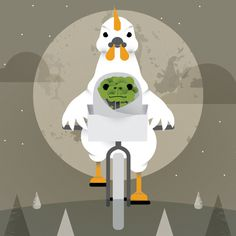 Chicken Broccoli magazine on Behance, Magda Azab #et #movie #bicycle #night #illustration #chicken #art #broccoli #editorial #magazine #moon