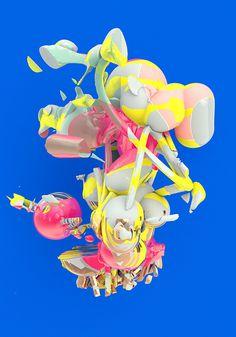 C A T K #blue #color #explosion #still #life #form #3d