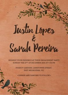 Rustic Garden - Engagement Invitations #paperlust #engagementinvitation #engagementcard #engagementinspiration #design #paper #printonwood