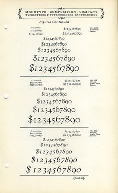 This vintage font specimen showcases Kennerly and Goudy Light Face old style figures #numbers #type #specimen #goudy