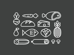 Grocery Bag Illustration Icons by Sara Dávila Evangelista #cheese #fish #fruit #sausage #icons #food #vegetables #illustration #grocery #meat #bread