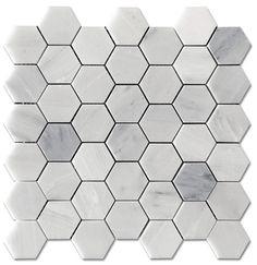"Carrara Pietra Hexagon Honed 2"" Mosaic Floor marble"