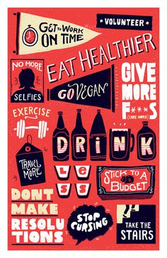 New Years Resolutions Vaughn Fender #type #poster