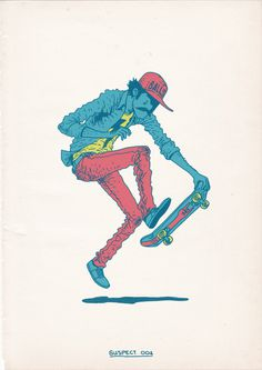 Skateboarding-is-a-Crime-2 #skateboarding #illustration #colorful #yamashita #awesome