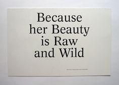 Because her Beauty is Raw and Wild #cover #design #graphic #nieves
