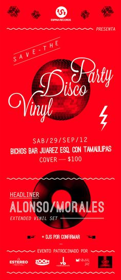 Vinil Disco Party Flyer #mexico #flyer #70s #electronic #vinyl #poster #music #party