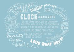 Manifesto Clock - Digital agency Clock commissioned me to take this selection of their key internal brand values and asked me to hand-let #olifrape