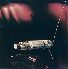 Satelite in Earth's orbit taken from Gemini 8, March 1966. chromogenic print on Kodak paper. NASA. Via Bassenge This is the Agena Target #gemini #satellite #space