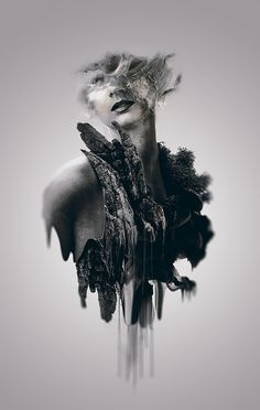 RAWZ #white #photo #head #black #greyscale #floating #manipulation #and #collage #organic #beauty