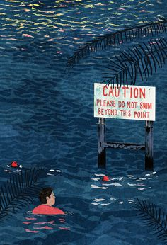 Illustration to accompany a short story called National Day for a competition run by Ambit Magazine. #illustration #caution #water #swim