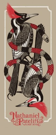 GigPosters.com - Nathaniel Rateliff #snakes #chris #huth #design #denver #colorado #birds #gigposter #poster #rateliff