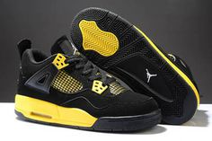 Women Air Jordan 4 Thunder Black/White/Tour Yellow - Basketball Shoes #shoes
