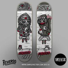 Maikel Vargas - New Deck x @simplevector para @reversoskate #illustration #skulls #kate