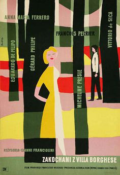 poster for Villa Borghese (Gianni Franciolini, Italy, 1953) #illustration #poster