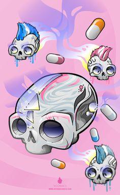 Crestalavera #pink #capsula #illustration #skulls