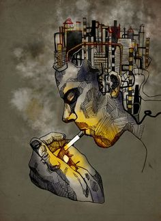 Smoking like a Chimney - Katie Melrose #factories #cigarette #illustration #portrait #smoking #pollutiom