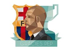 GRÀCIES PEP on the Behance Network #vector #champion #side #shield #illustration #barcelona #football #man #face