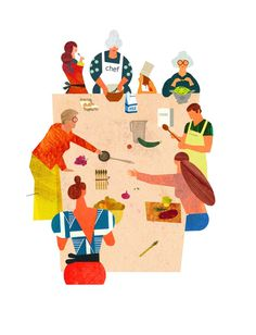 Veronique Joffre : Quartiers des Générations / Intergenerational Neighborhood, colagene.com #family #color #table #block #illustration #kitchen #paper