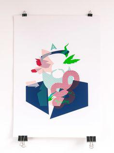 5 color screen print inspired by Action Bronson's baby Blue printed on 300gr Fedrigoni Arcoprint Milk #printmakingmoneygang