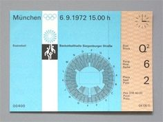 Otl Aicher 1972 Munich Olympics - Tickets #ticket
