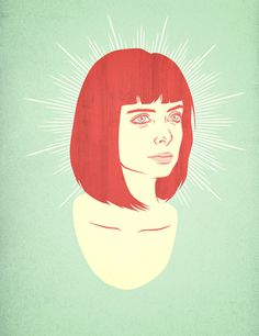Krysten Ritter #celebrity #woman #girl #eyes #hair #wood #illustration #portrait #vintage #face