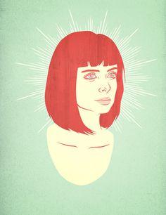 Krysten Ritter #woman #girl #hair #wood #illustration #portrait #vintage #face